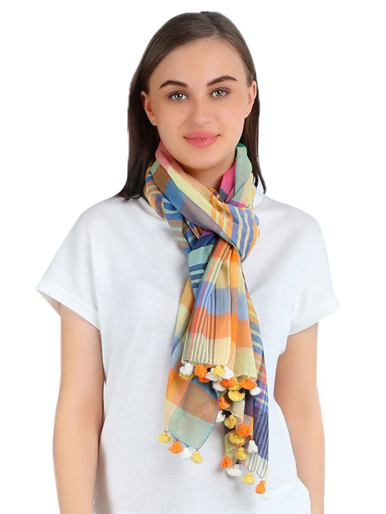 Pashma Multicolored Handwoven Bengal Cotton Scarf with Tassels