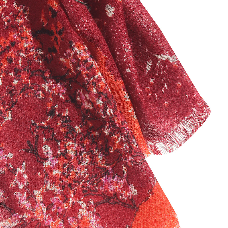 Pashma Shaded Red/Orange Stole crafted in Silk Cashmere Crepe