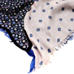 Pashma Matisse Printed Scarf in Silk and Cashmere ( Blue )