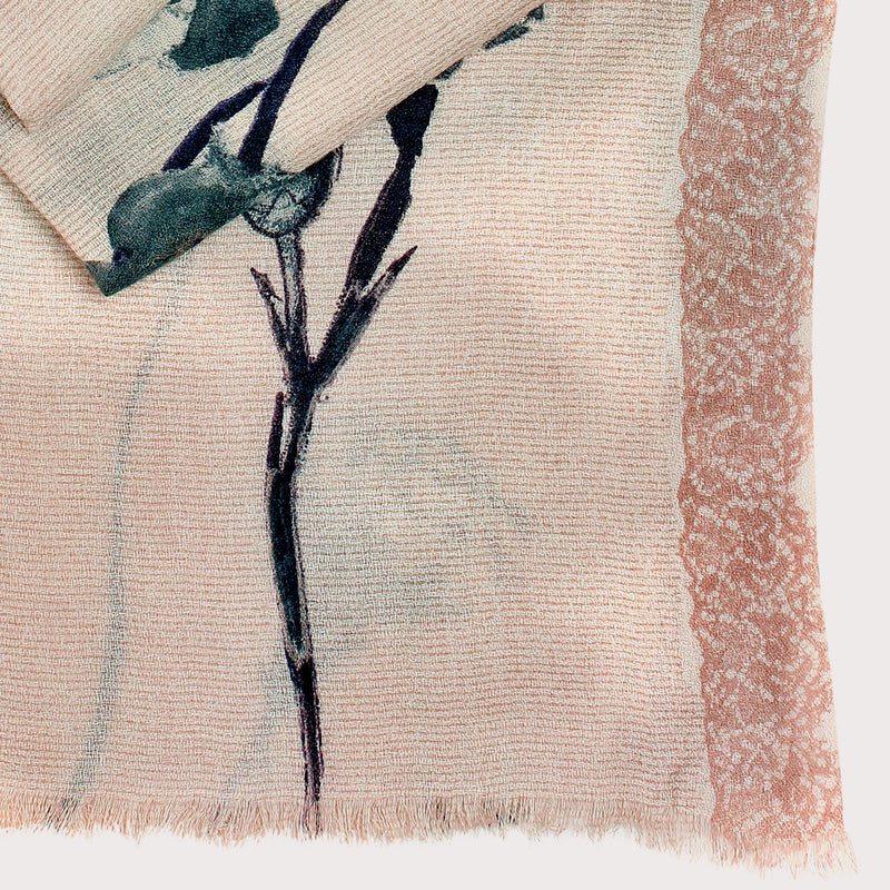 Pashma Floral Laced scarf crafted in Silk Cashmere Crepe