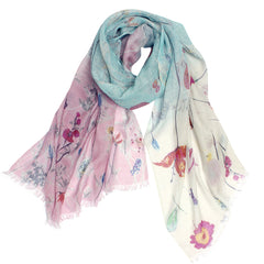Pashma Blooms shaded woven printed scarf crafted in Silk Linen Kashgar