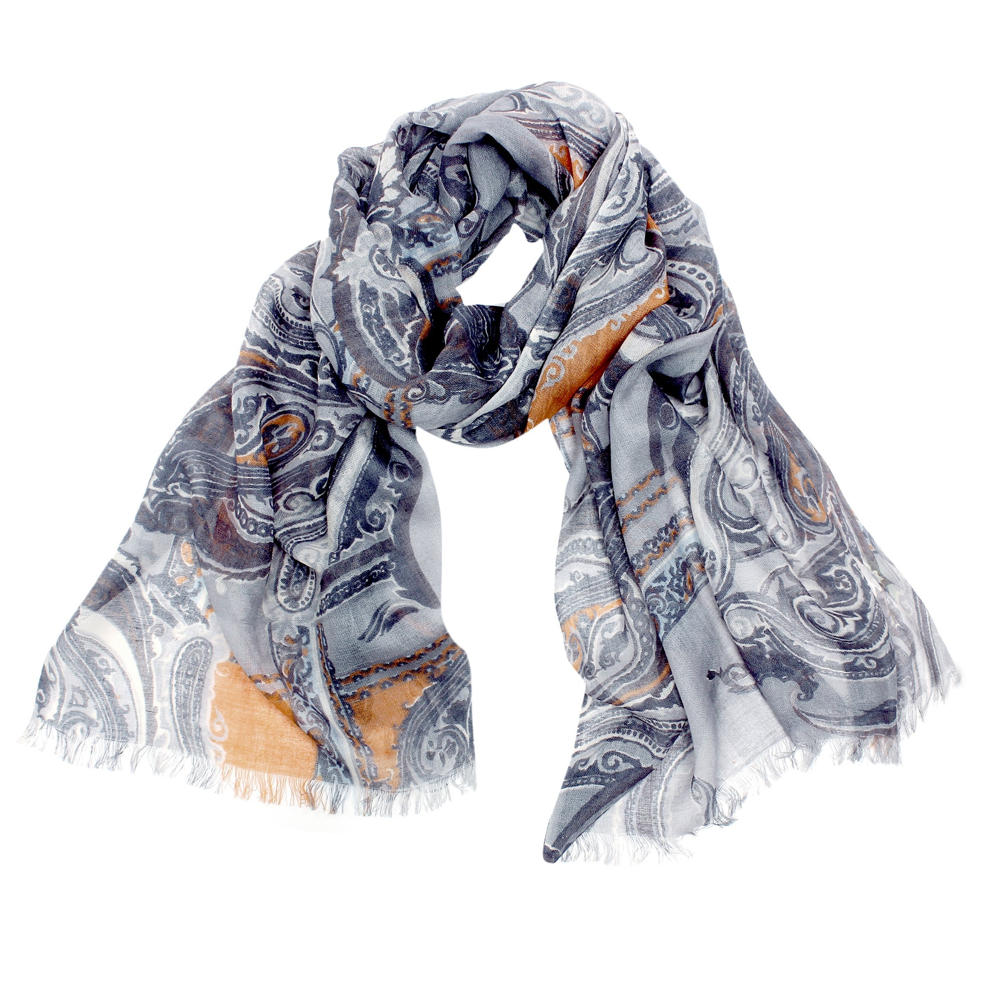Pashma Paisley Grey scarf crafted in Silk Cashmere Kashgar