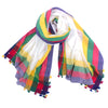 Pashma Ivory Multicolored border Handwoven Bengal Cotton Scarf with Tassels