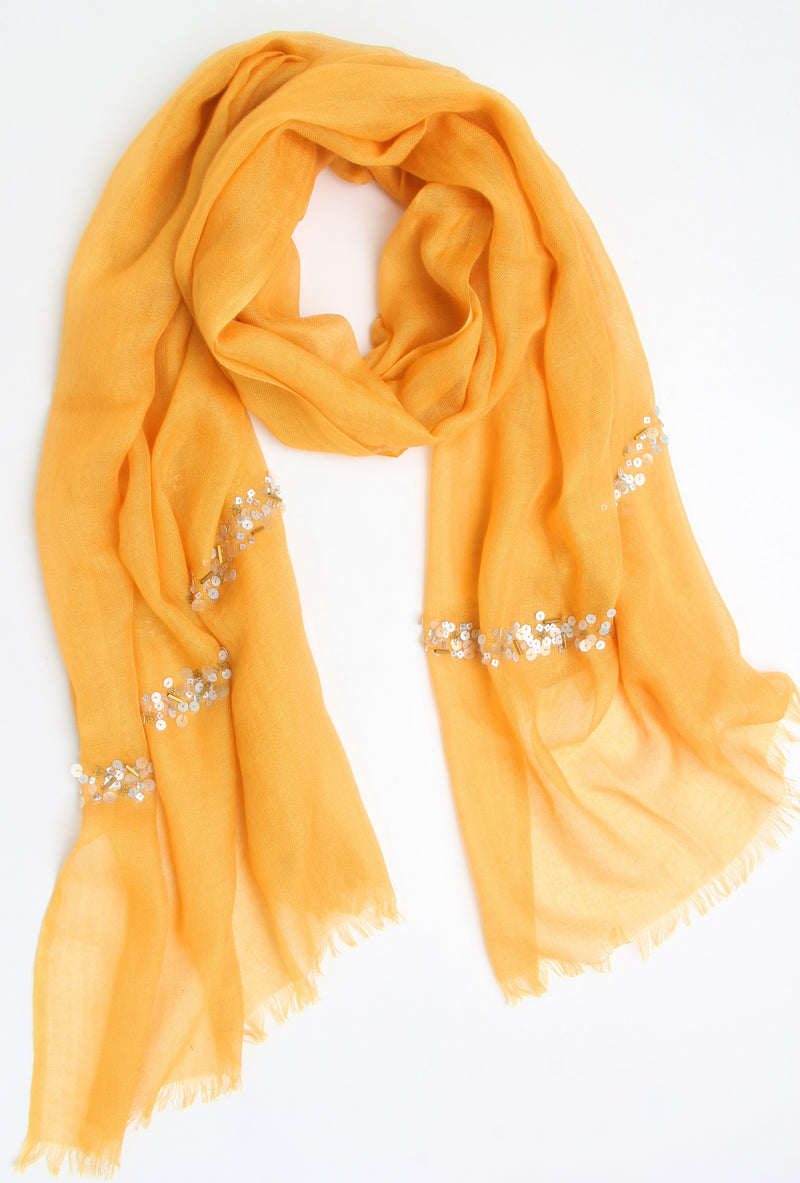 Pashma Yellow Sequenced scarf crafted in Silk Cashmere