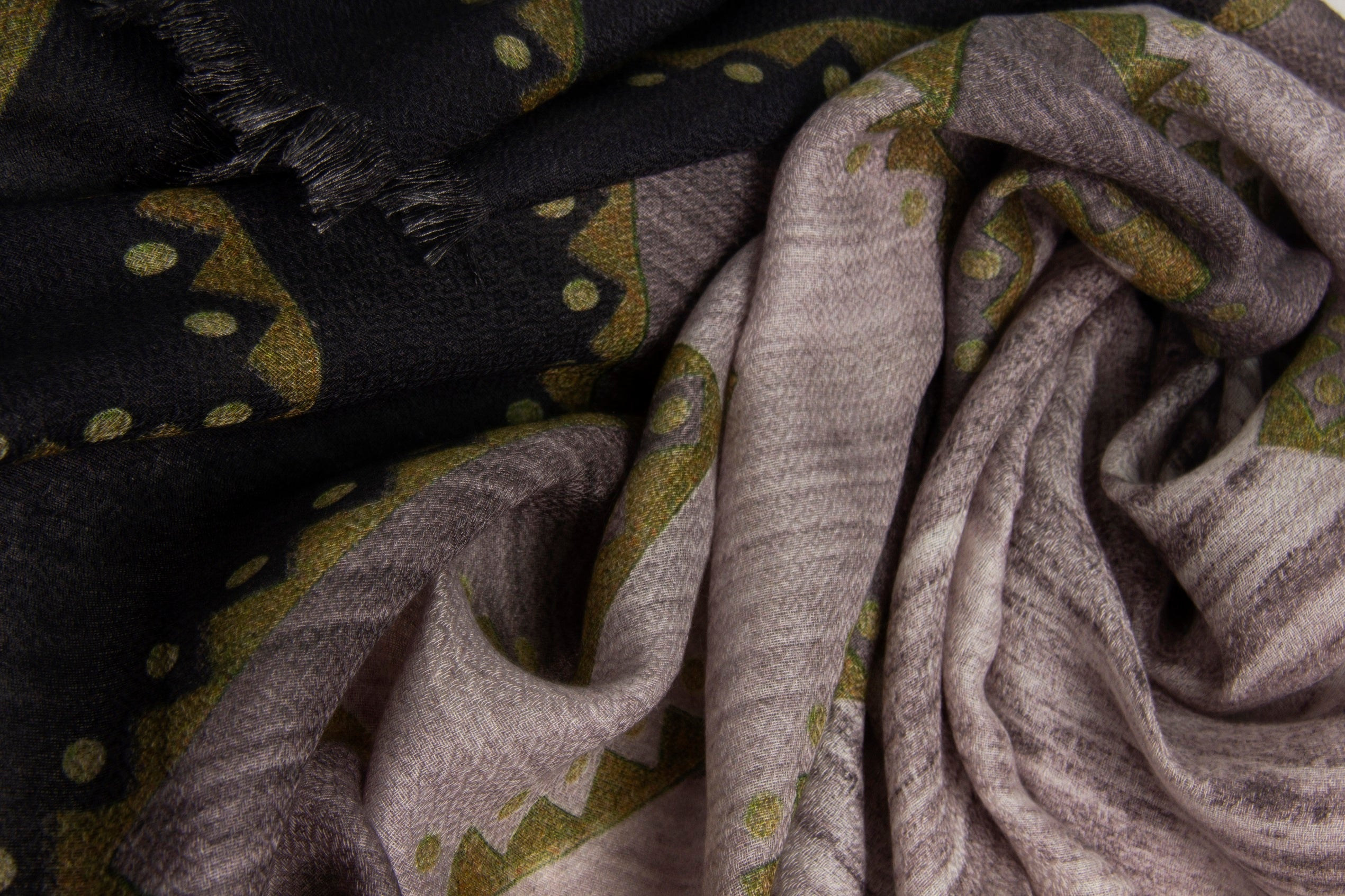Pashma Grey printed stole crafted in Modal Silk Wool Cashmere