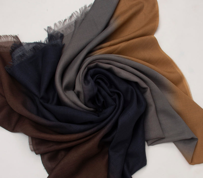 Pashma Brown Ombre Stole crafted in Modal Silk Wool Cashmere