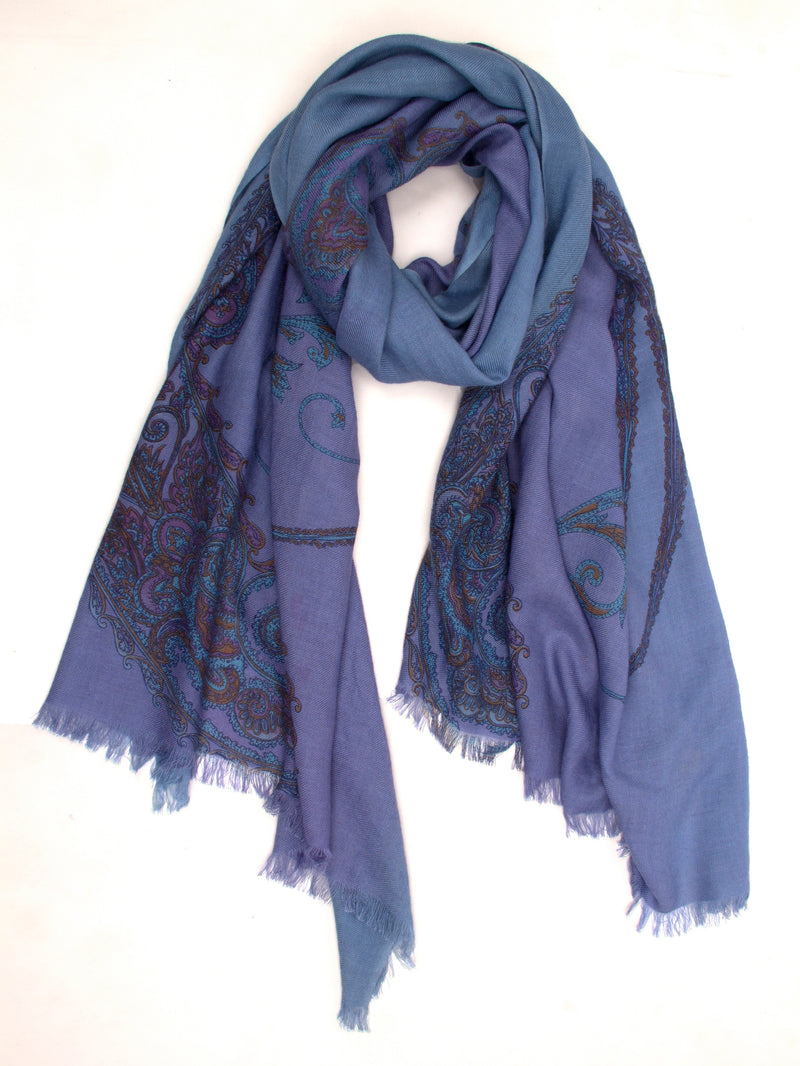 Pashma Purple Shaded Paisley print scarf crafted in Silk Cashmere Twill