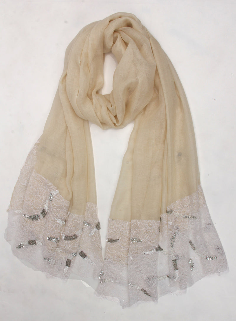 Pashma Beaded laced scarf crafted in Modal Silk Wool Cashmere