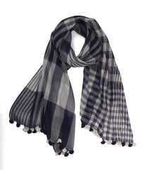 Pashma Navy Ivory Handwoven Bengal Cotton Scarf with Tassels