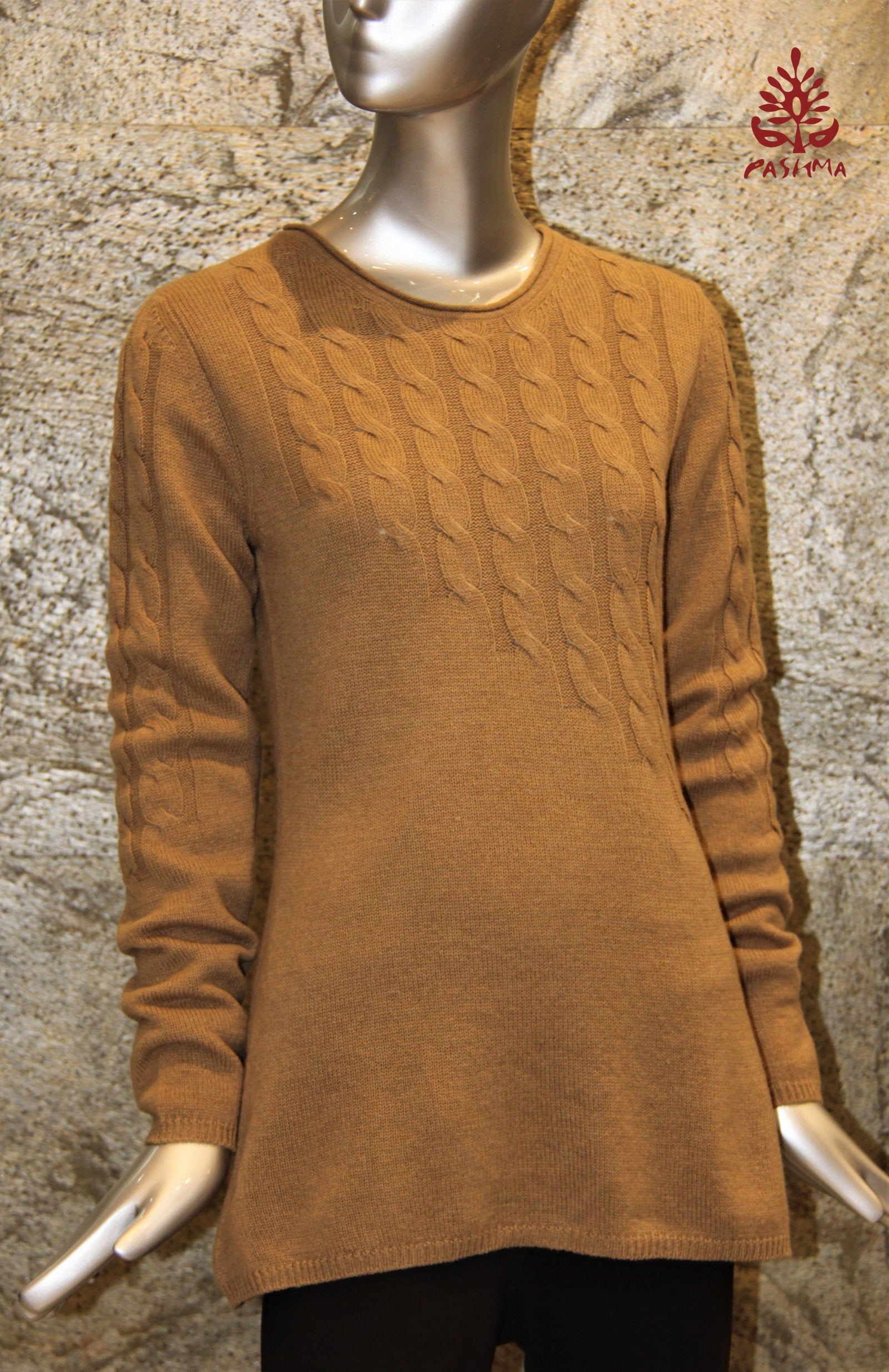 PASHMA REGENERATED DIMNISHING CABLE SWEATER