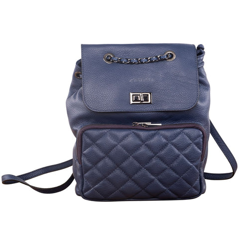 QUILTY PLEASURE LEATHER BACKPACK ( NAVY )