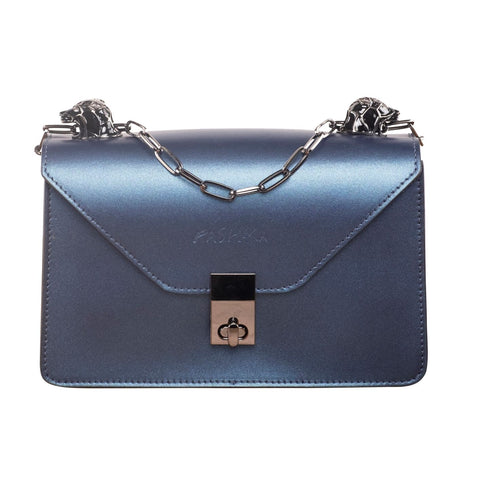 SUAVE CHIC BLUE METALLIC SLING BAG