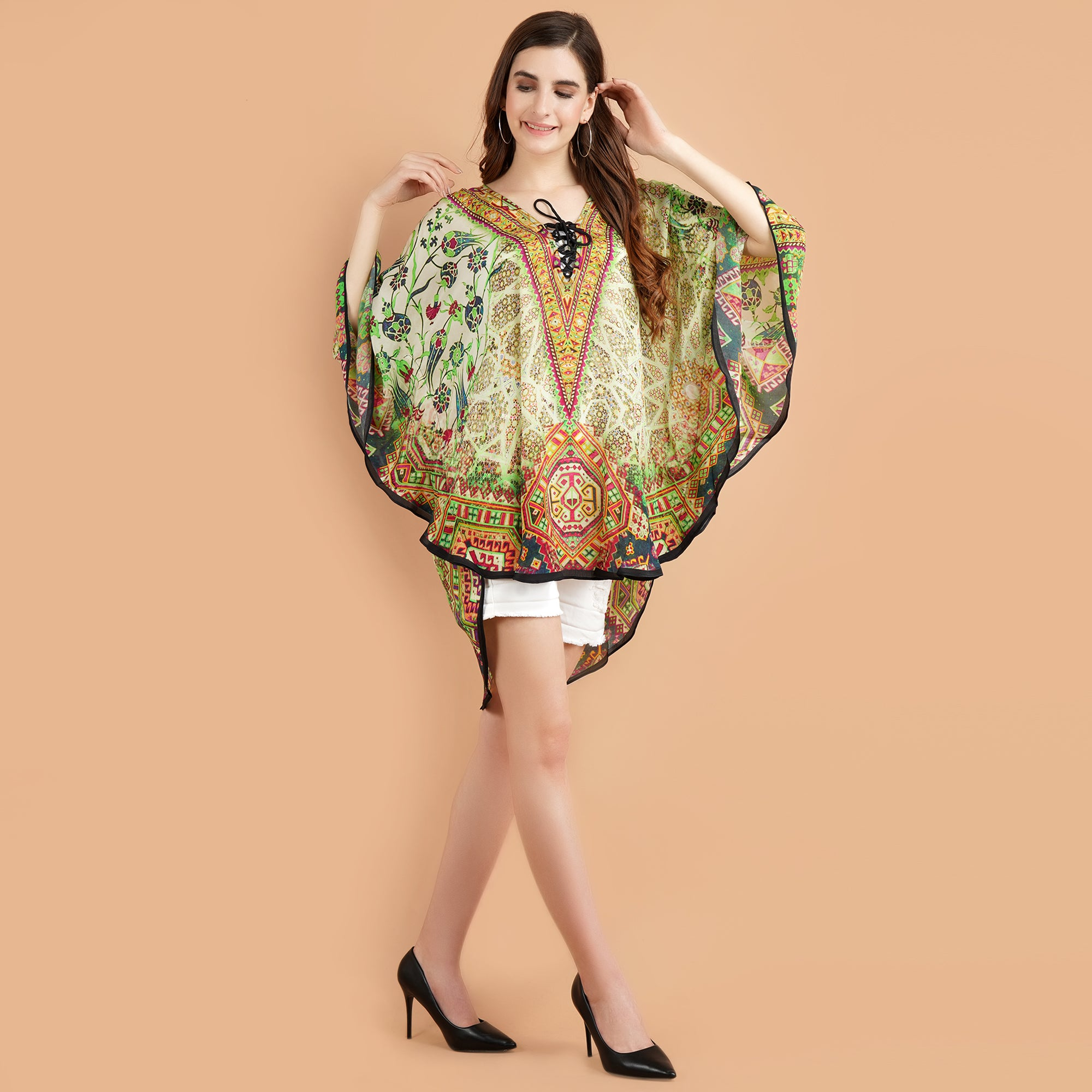 Pashma Smart  Short Green Multi Color Kaftan for fresh summer fashion