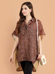 Pashma Smart Brown-Beige Shaded Hi-Low Paisley Dress