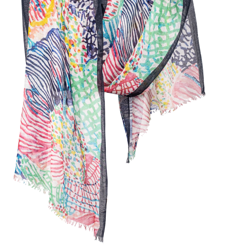 Pashma Multi Color Illusion print scarf made in Silk Linen Cashmere