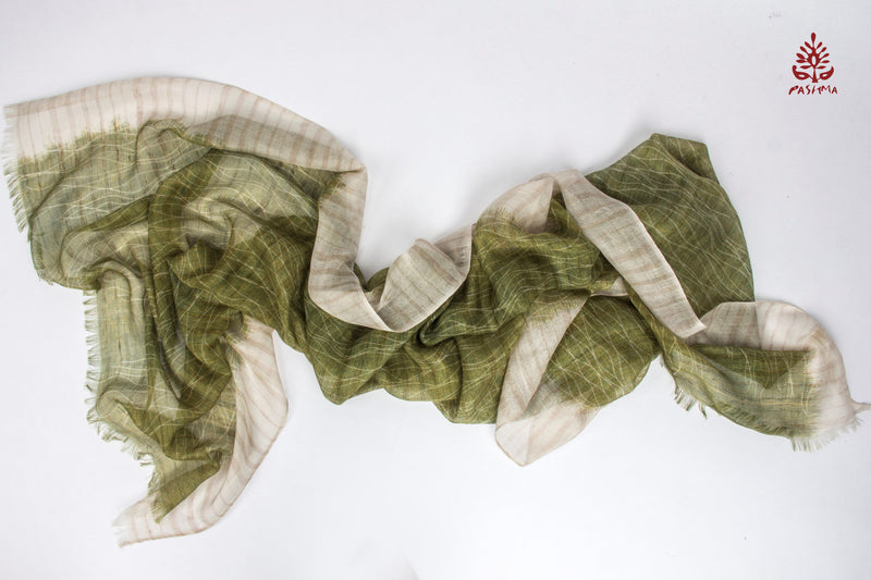 PASHMA CURVES AND STRIPES BAMBOO SILK LINEN CASHMERE SCARF