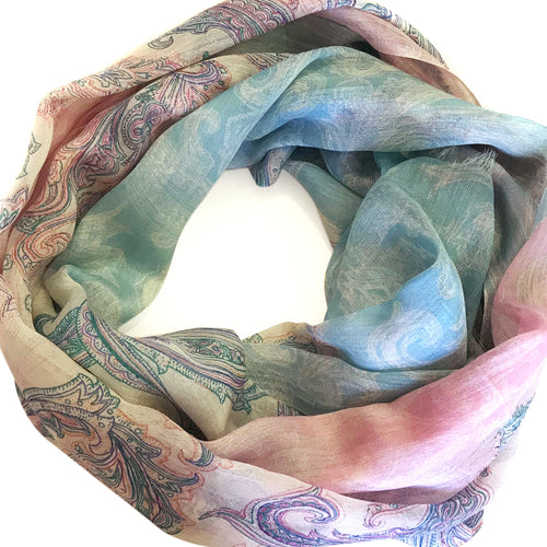 Soft Hues On Fine Scarf