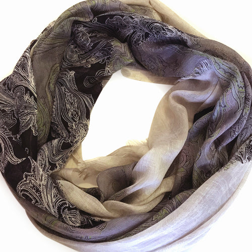 Grey And Black Paisely Scarf