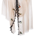 Lace And Bird Applique Embroidered Scarves