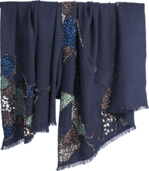 PASHMA MOSAIC EMBROIDERED SCARF CRAFTED IN CASHMERE