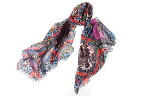 Ancestral Fantasy Scarf in Silk and Cashmere ( Blue, Red and Purple )