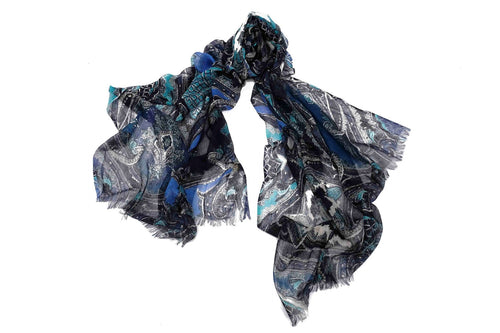 Ancestral Fantasy Scarf in Silk and Cashmere ( Shades of Blue )
