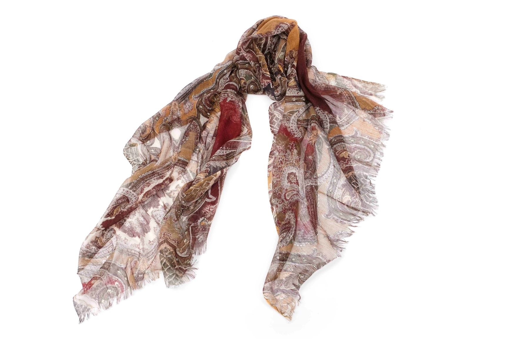 Ancestral Fantasy Scarf in Silk and Cashmere( Earthy Tones )