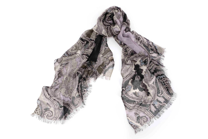 Ancestral Fantasy Scarf in Silk and Cashmere  ( Pink and Gray )