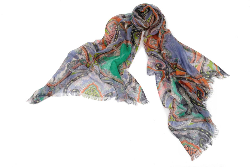 Ancestral Fantasy Scarf in Silk and Cashmere ( Orange and Blue )