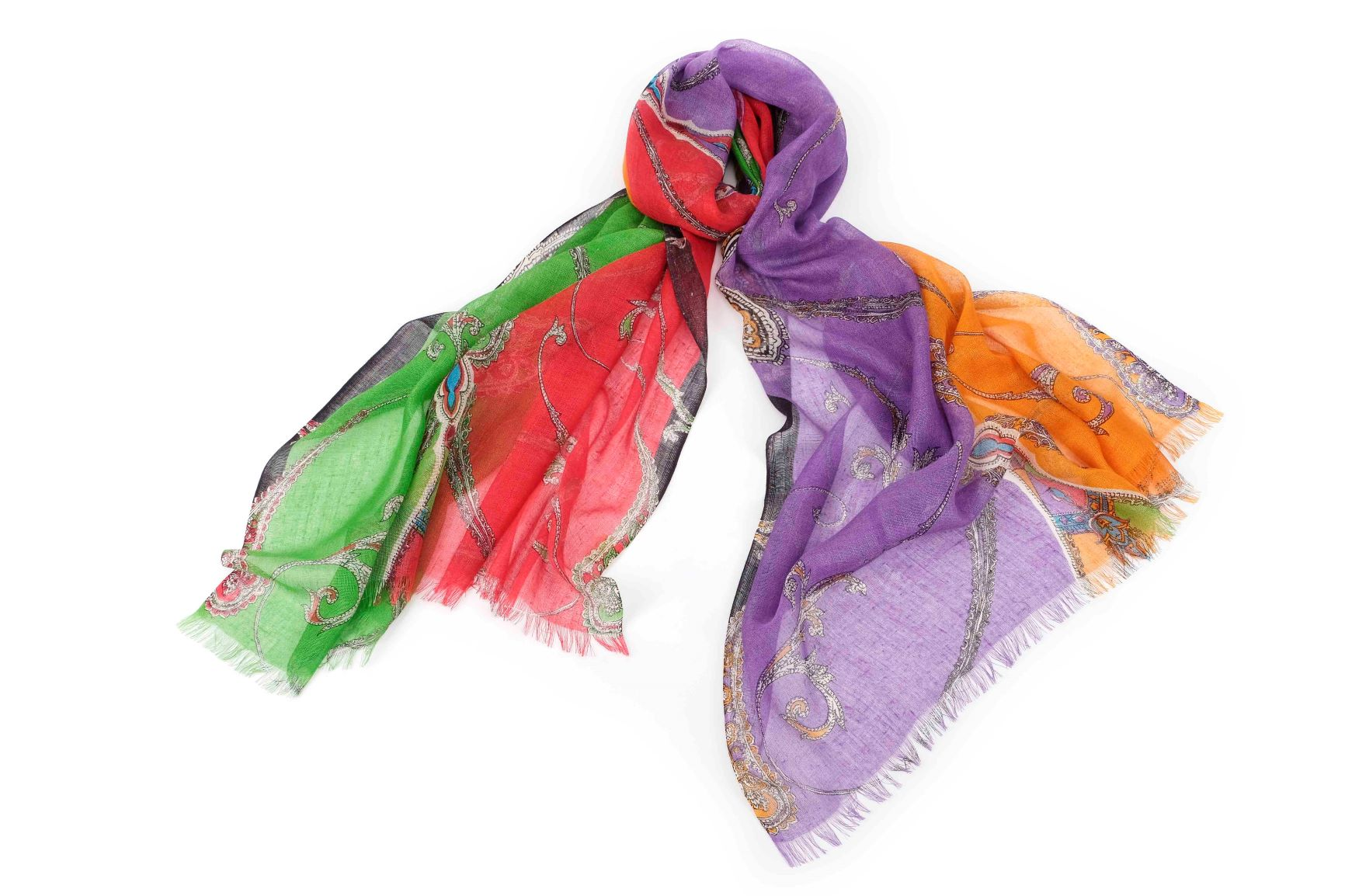 Playful Paisley Scarf in Silk and Cashmere ( Red and Green )