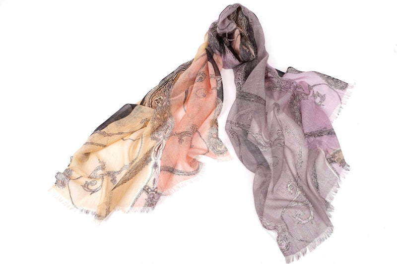 Playful Paisley Scarf in Silk and Cashmere ( Peach and Lavender )