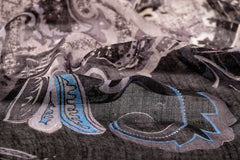 Progressive Culture Scarf ( Blue and Grey ) in Silk and Cashmere