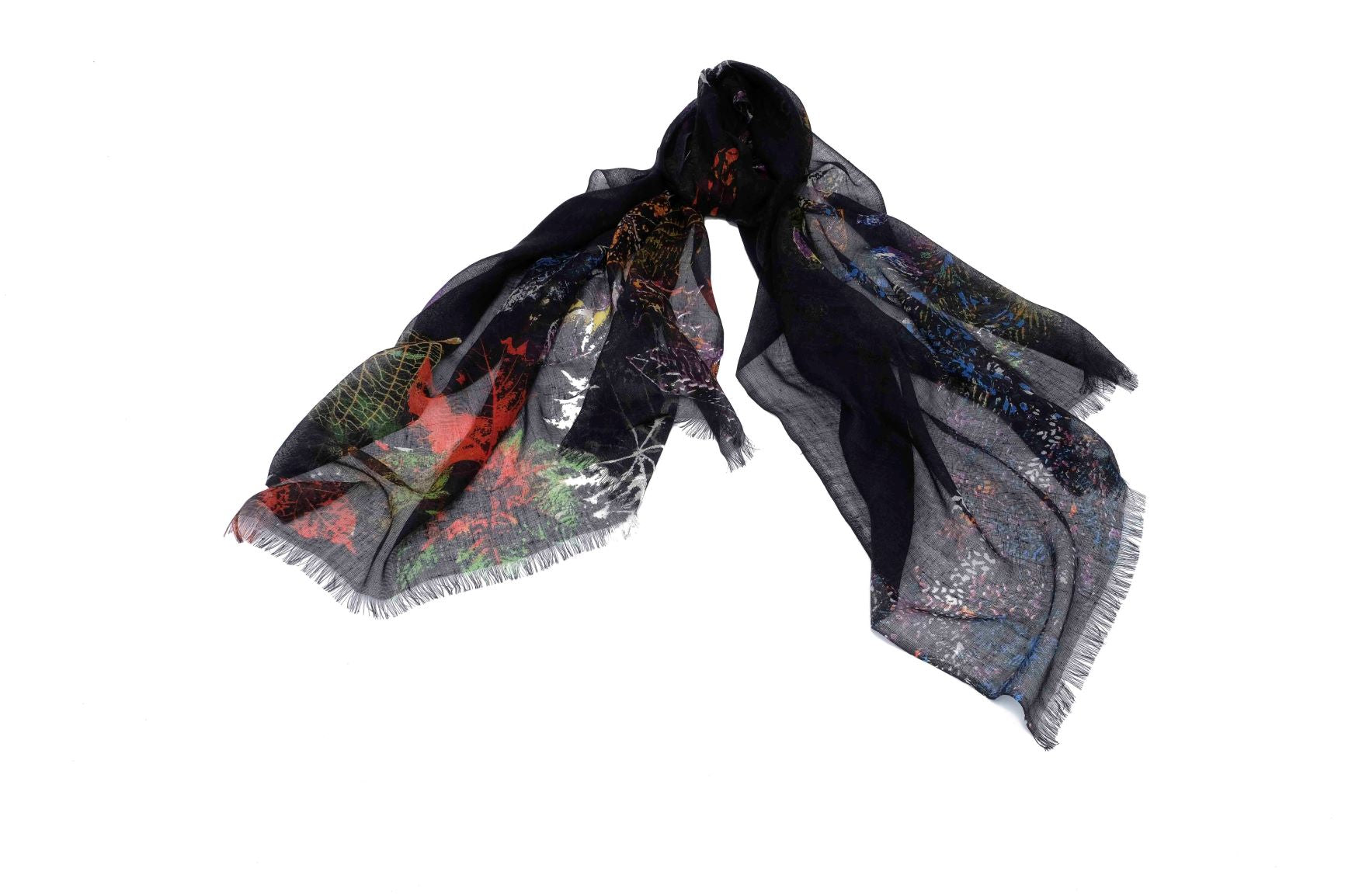 Murky Foliage Scarf in Silk and Cashmere  ( Black )