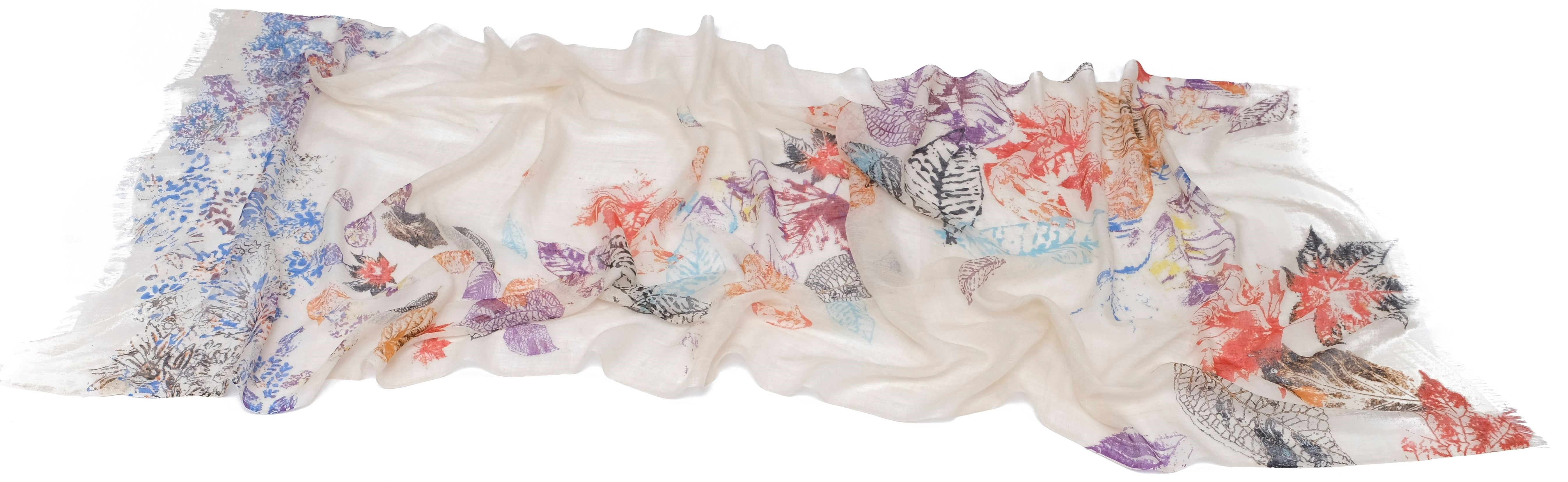 Murky Foliage Scarf in Silk and Cashmere  ( White )