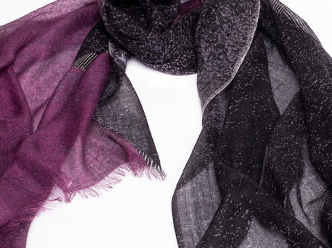 Pashma Washed Out Degrade Scarf in Silk and Cashmere  ( Purple and Black )