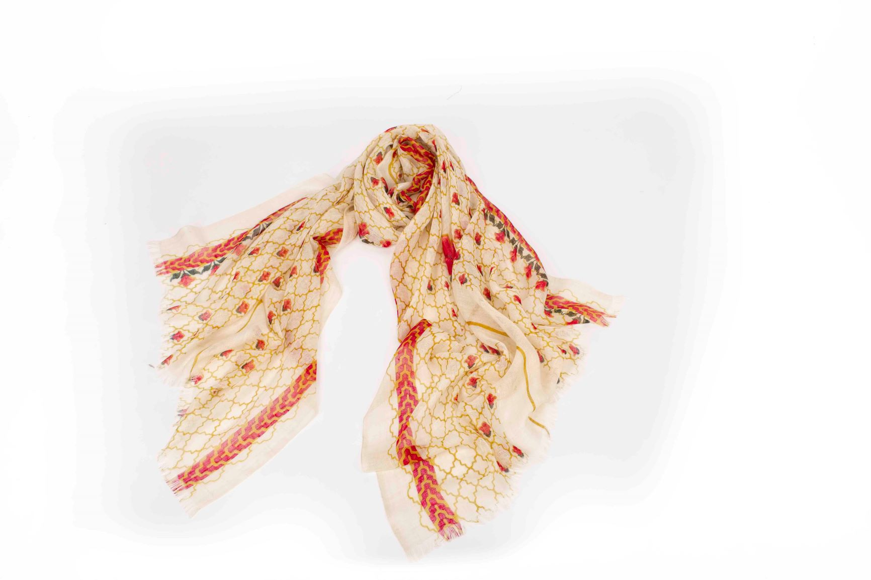 Petite Flowers in a Mesh Scarf in Silk and Cashmere ( Red and Gold)
