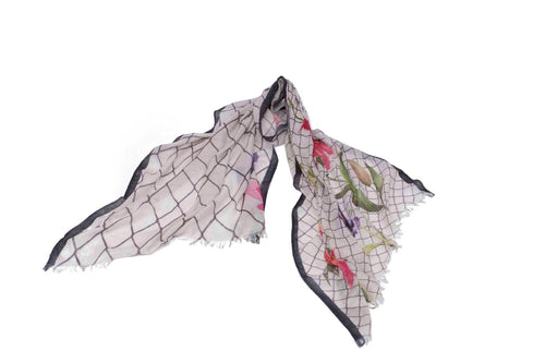 Lifelike Flower Scarf in Silk and Cashmere ( Red and White )