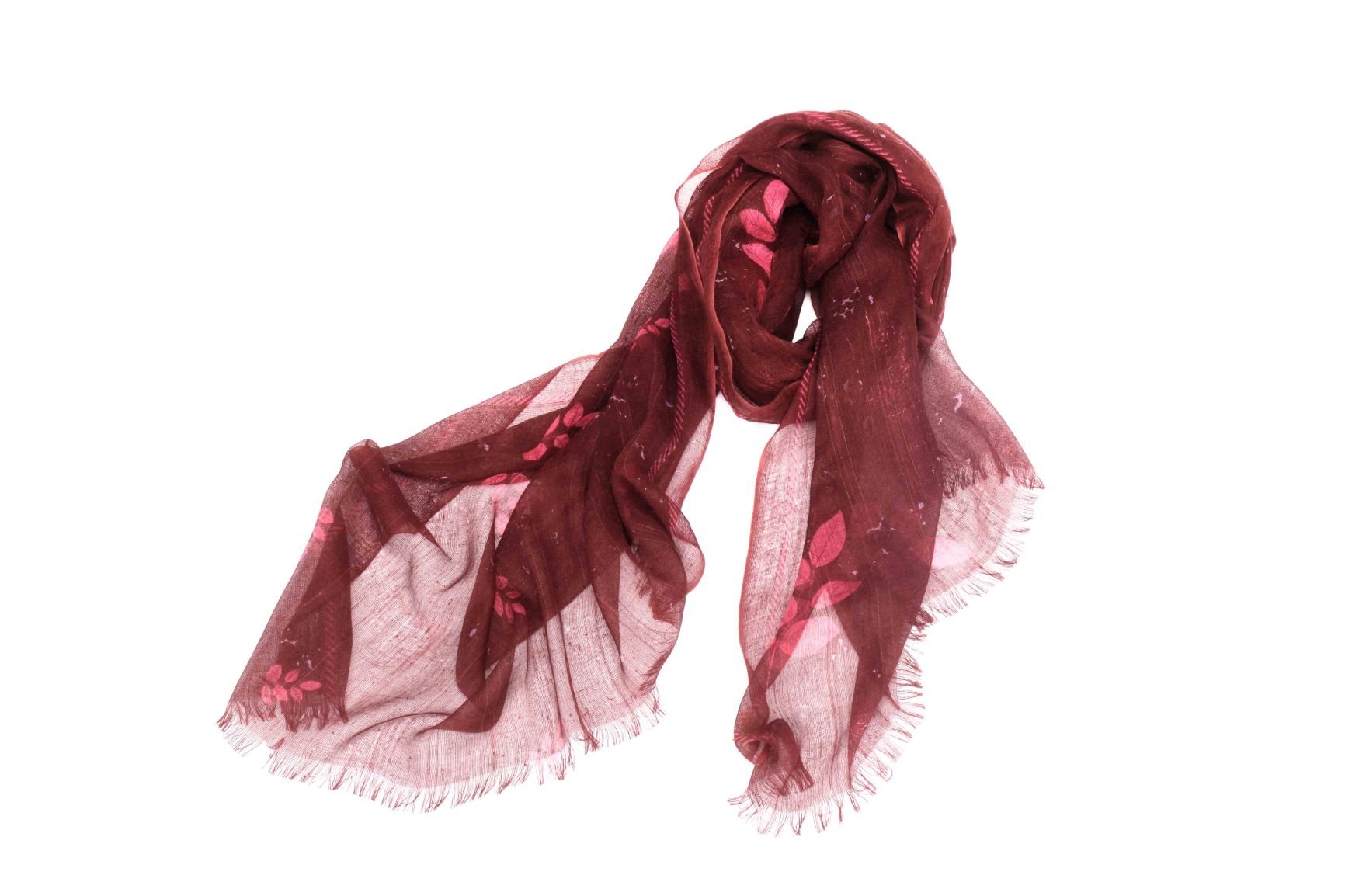 Leaves of the Fall Scarf in Silk and Cashmere ( Red )