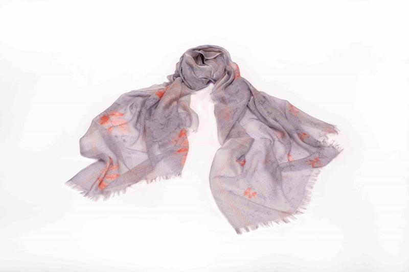 Leaves of the Fall Scarf in Silk and Cashmere ( Gray )