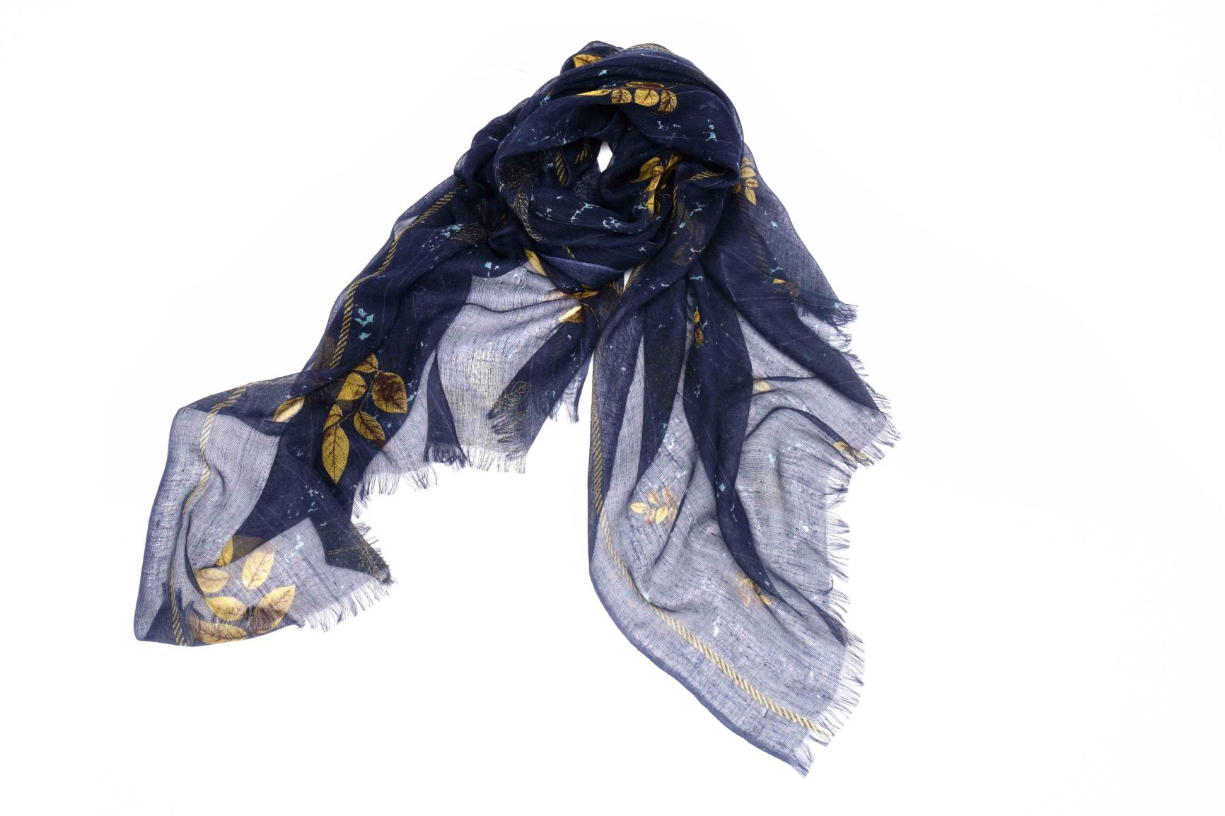 Leaves of the Fall Scarf in Silk and Cashmere ( Blue )