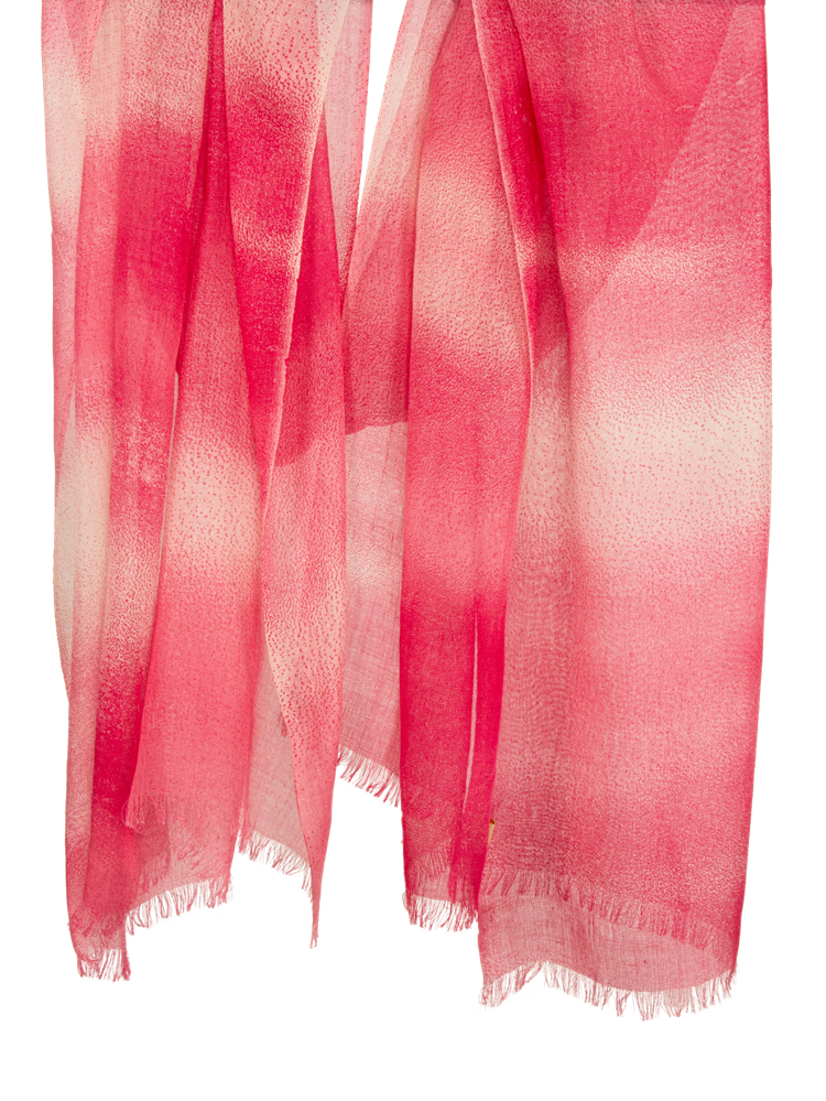 Pashma Red Color Illusion print scarf made in Silk Cashmere