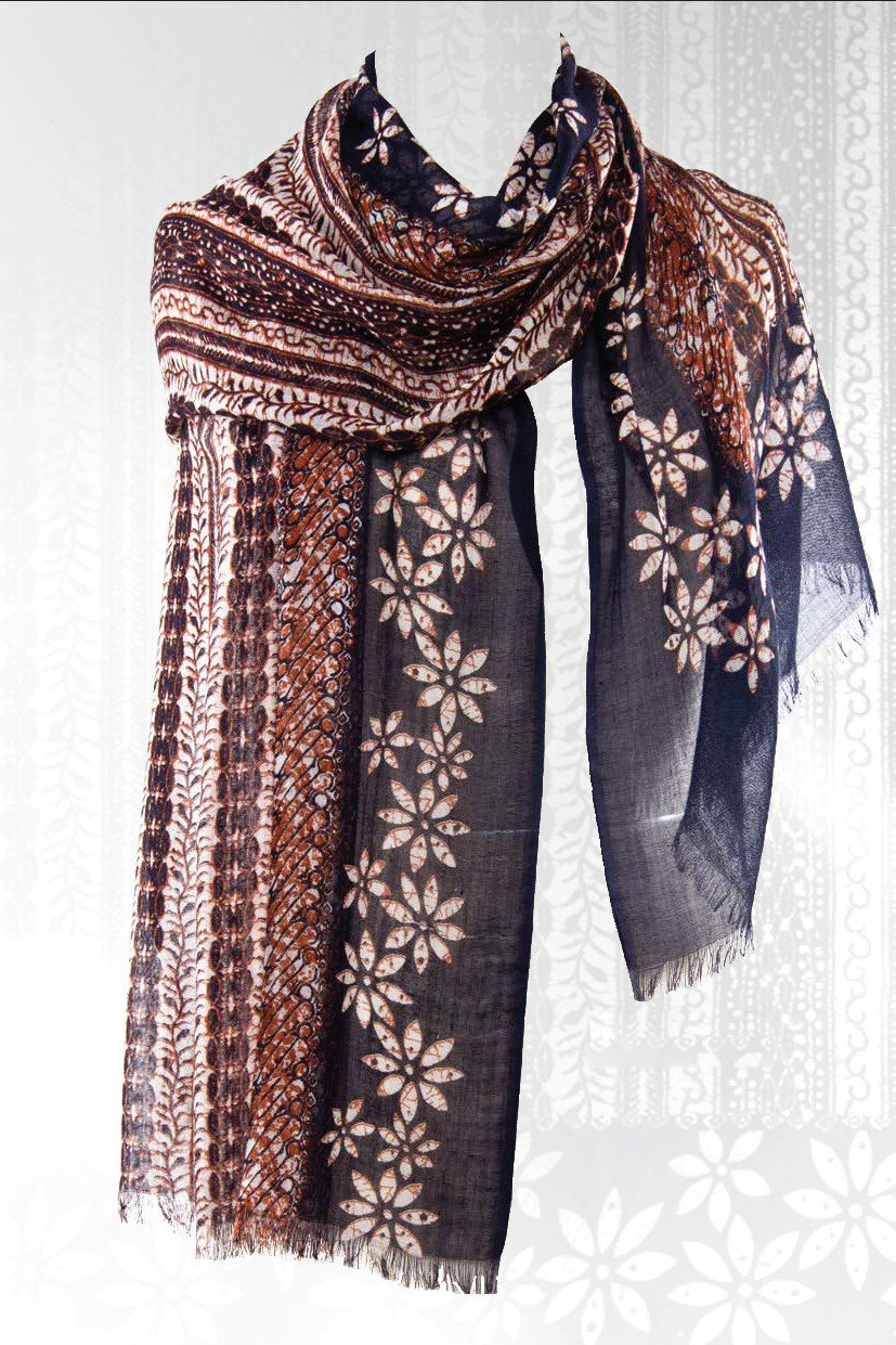 Indonesian Batik Scarf in Silk and Cashmere - Pashma Outlet