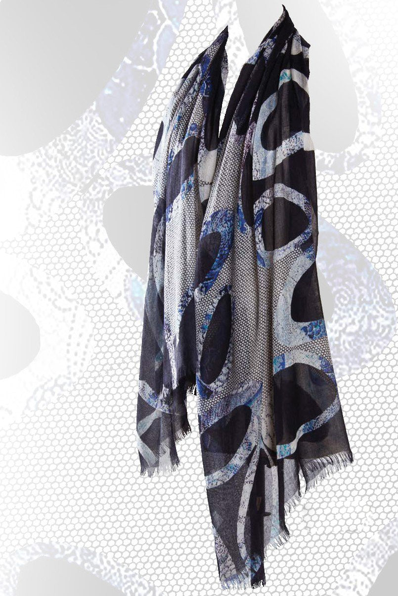 Larger than Life Geometric scarf in Silk and Cashmere - Pashma Outlet