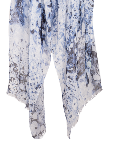 Pashma White Floral print scarf made in Linen
