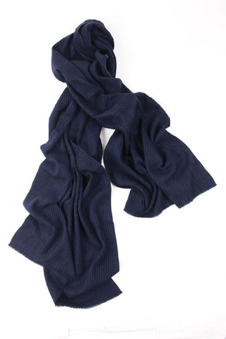 Pleated Navy Scarf