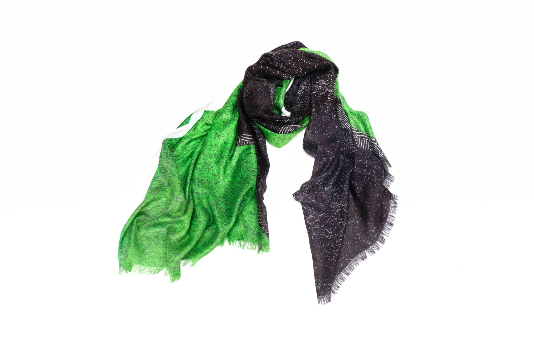Washed Out Degrade Scarf in Silk and Cashmere  ( Green and Black )
