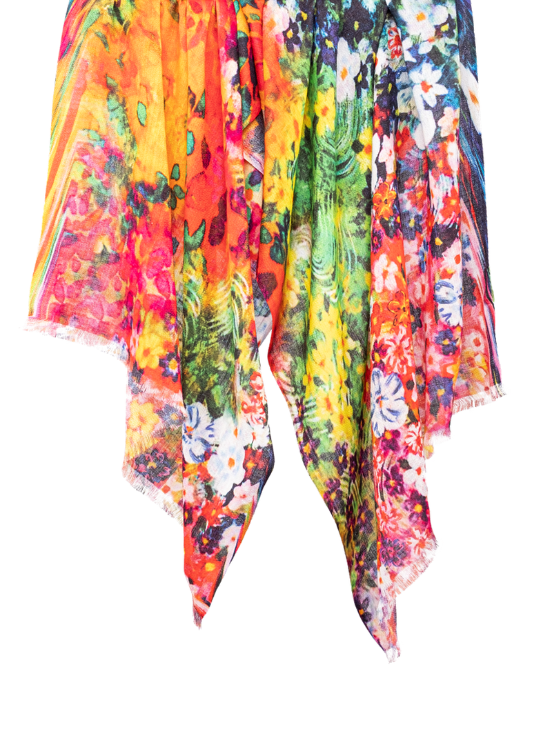 Pashma Multi Color Floral print scarf made in Modal Silk Wool Cashmere