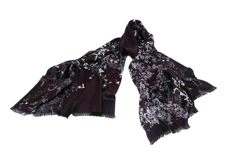 Floral Orchid Scarf in Modal, Silk, Wool and Cashmere