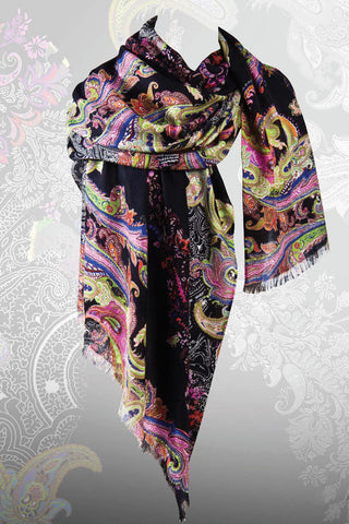 Floriana Paisley Scarf in Silk and Cashmere - Pashma Outlet