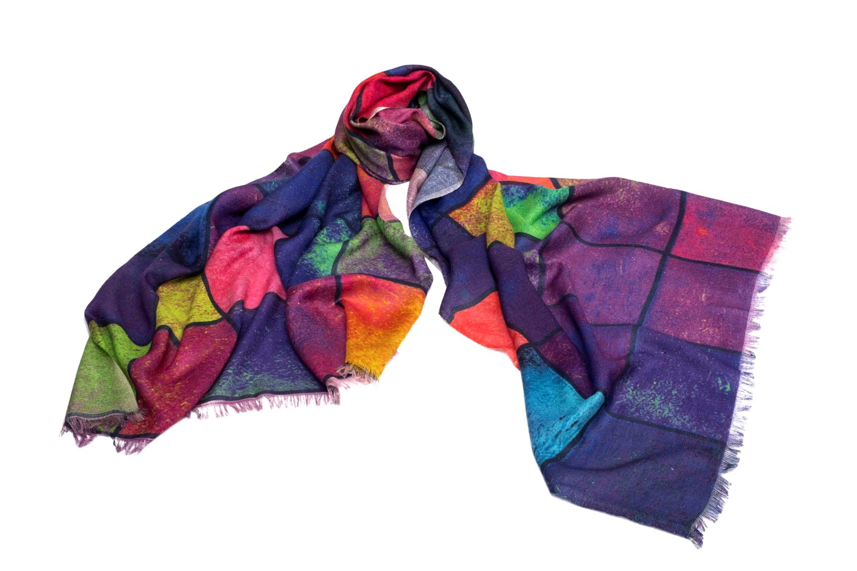 Psychedelic Grid Scarf in Silk and Cashmere